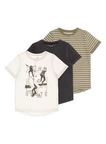 Boys Born To Skate Tees 3 Pack (3 - 12 years)