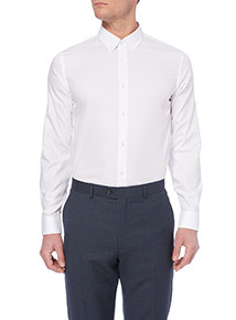 White Plain Tailored Shirt with Button Down Collar