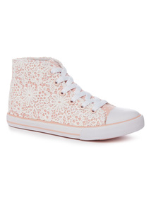 Pink Lace High Top Trainers