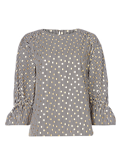 Foil Spot And Stripe Blouse