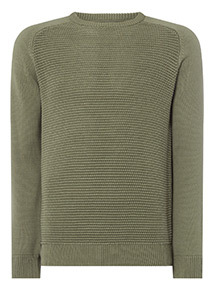 Khaki Seed Stitch Raglan Sleeve Jumper