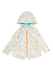 Girls White Floral Print Hooded Jacket (0 - 24 months)