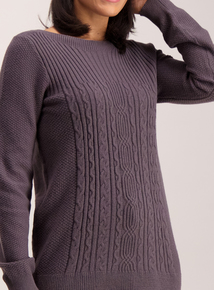 Grey Long Line Cable Jumper