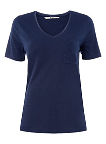 Navy Pocket V-Neck T-Shirt