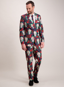 Halloween Multicoloured Day Of The Dead Suit & Tie