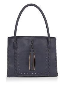 Navy Multi Compartment Tassel Bag