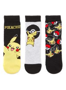 3 Pack Yellow Pokemon Socks
