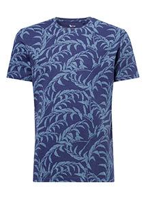 Navy Leaf Print T-Shirt