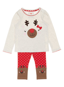 Christmas Reindeer Jersey Top and Legging Set (0-24 months)