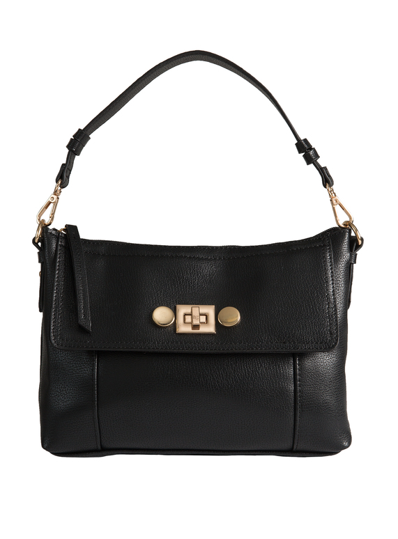 Black Classic Leather-Like Rose Gold Turn Clasp Handbag