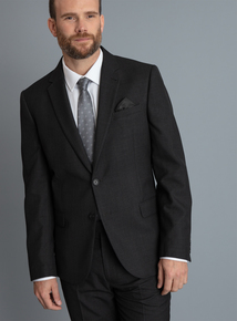 Charcoal Brown Checked Tailored Fit Suit Jacket