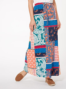 Multicoloured Patchwork Maxi Skirt