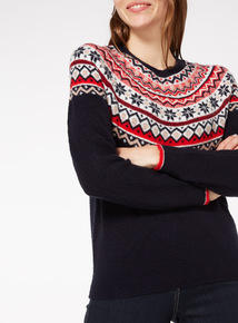Navy Christmas Traditional Fairisle Jumper