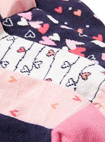 5 Pack Modal Heart Footbed Socks