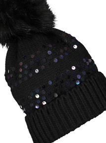 Black Sequin Knitted Pom Pom Hat