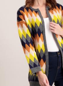 Multicoloured Mini Argyle Patterned Coatigan