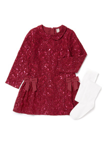 Berry Red Lace Dress and Tights Set (9 months-6 years)