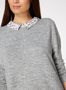 Animal Print Woven Hem Knitlook Blouse