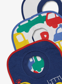 Multicoloured Car Print Bibs 3 Pack (one size)