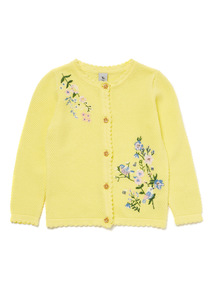 Yellow Floral Embroidered Cardigan (9 months-6 years)