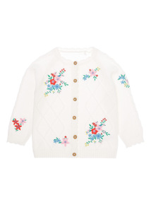 Girls White Embroidered Cardigan (0-24 months)
