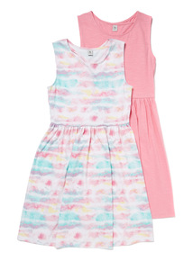 2 Pack Multicoloured Jersey Dresses (3-14 years)