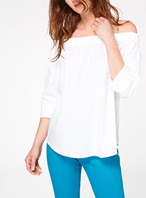 White Poplin Cold Shoulder Top
