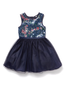 Navy Sequin Floral Occasion Dress (3-14 years)