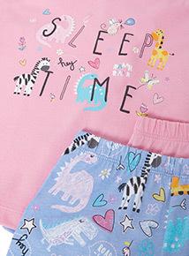 2 Pack Multicoloured Animal Print Pyjamas (1-7 years)