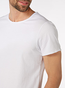 White Raw Edge Scoop Tee