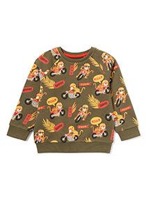 Khaki Motorbike Tiger Print Sweatshirt (9 months - 6 years)