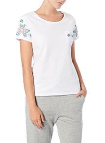 White Embroidered Sleeve T-shirt