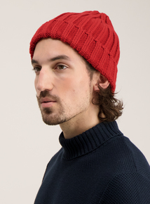 Red Cable Knit Beanie Hat