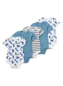 5 Pack Blue Dinosaur Bodysuits (0-24 months)