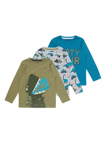 Multicoloured Long Sleeved Dino Tees 4 Pack (9 months-5 years)