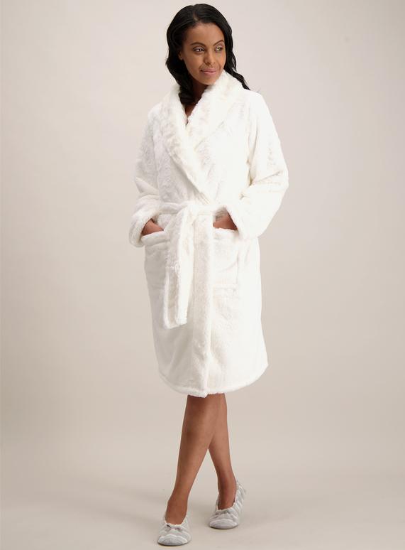 Womens Cream Faux Fur Dressing Gown Tu Clothing