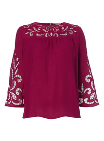 Purple Lace Sleeve Top
