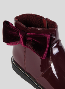 Burgundy Patent Bow Boots (4 Infant-12 Infant)