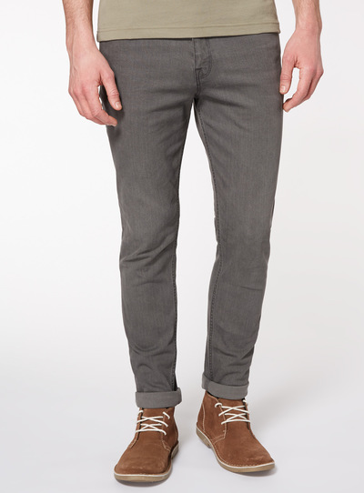 Online Exclusive Grey Denim Wash Skinny Jeans With Stretch