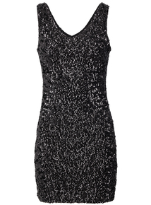 IZABEL Black Sequin Mini Bodycon