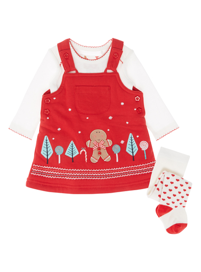 2fb97d20c75b Baby Girls Red Gingerbread Pinny Set (0-24 months)