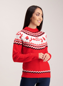 Online Exclusive Red Christmas Fairisle 'Jolly' Jumper