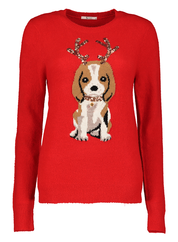 SKU: CHRISTMAS PUPPY JUMPER:Red