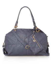 Blue Washed Bowler Bag