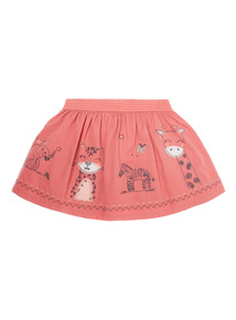 Girls Pink Animal Border Skirt (9 months-6 years)