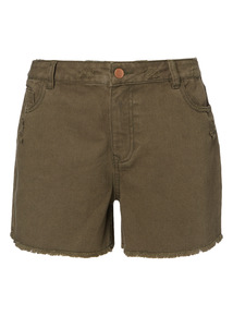 Khaki Washed Denim Shorts