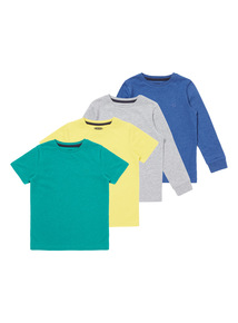 Multicoloured Plain & Short Sleeved Tees 4 Pack (9 months-5 years)