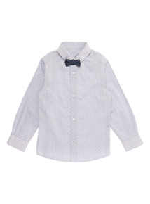Blue Formal Occasion Shirt With Bow Tie (3-14 years)