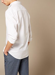 Premium White Slim Fit Textured Shirt With Stretch