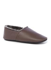 Brown Fur Lined Full Slipper